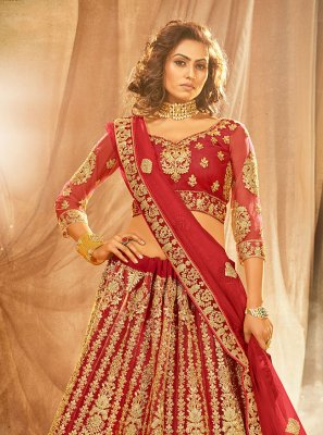 Red Embroidered Engagement Lehenga Choli