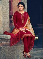 Red Embroidered Faux Georgette Designer Straight Suit