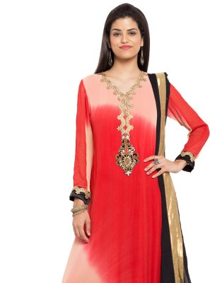 Red Embroidered Faux Georgette Readymade Salwar Kameez