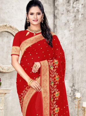 Red Embroidered Festival Classic Designer Saree
