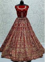 Red Embroidered Lehenga Choli