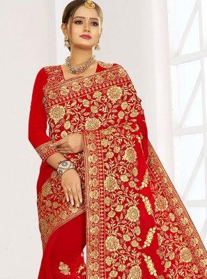 Red Embroidered Mehndi Designer Bridal Sarees