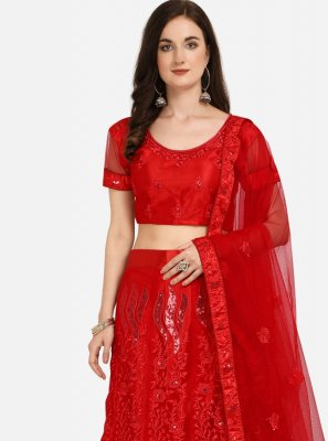 Red Embroidered Net Lehenga Choli