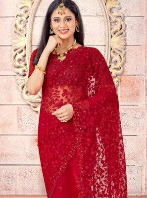 Red Embroidered Net Traditional Designer Saree