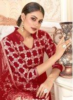 Red Embroidered Net Trendy Salwar Kameez