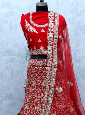 Red Embroidered Velvet Lehenga Choli