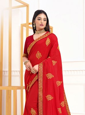 Red Embroidered Vichitra Silk Classic Designer Saree