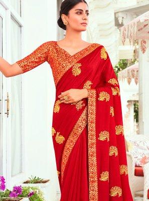 Red Embroidered Vichitra Silk Traditional Designer Saree