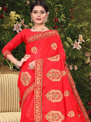 Red Embroidered Vichitra Silk Traditional Saree