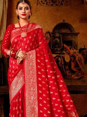 Red Engagement Banarasi Silk Traditional Designer Saree