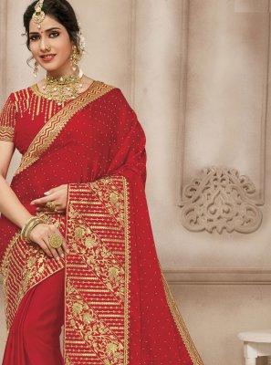 Red Engagement Trendy Saree