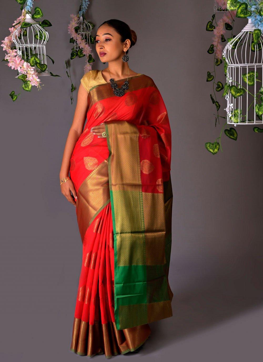 Red Fancy Ceremonial Classic Saree