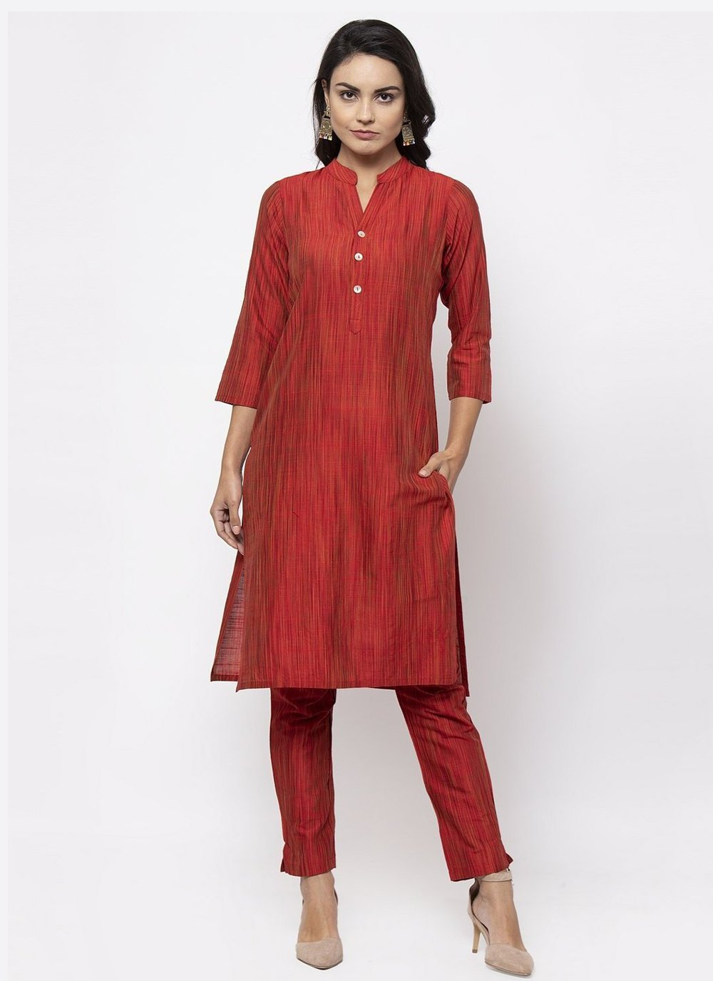 Red Fancy Cotton Silk Designer Kurti