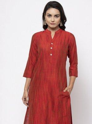 Red Fancy Cotton Silk Designer Kurti