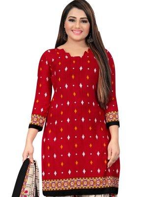 Red Fancy Fabric Patiala Suit