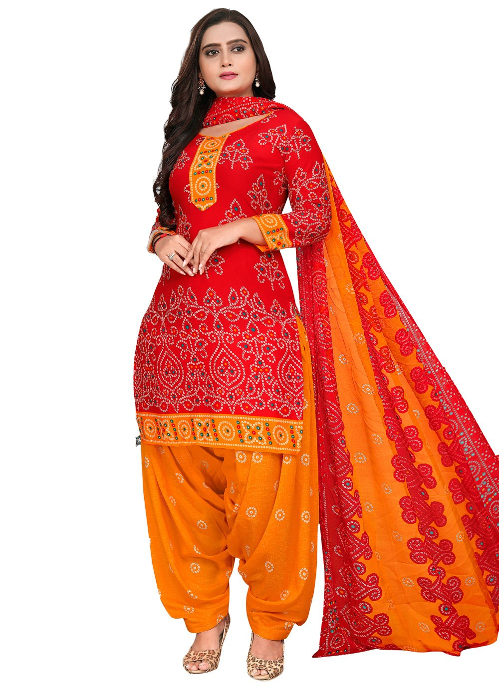 Red Fancy Fabric Printed Patiala Suit