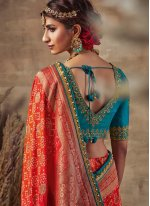 Red Fancy Fabric Resham Traditional Saree