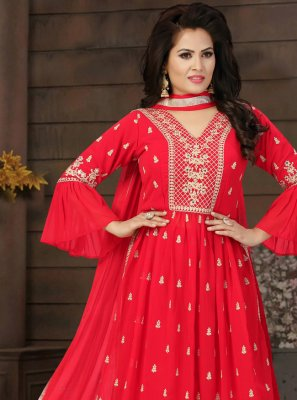 Red Fancy Festival Readymade Suit