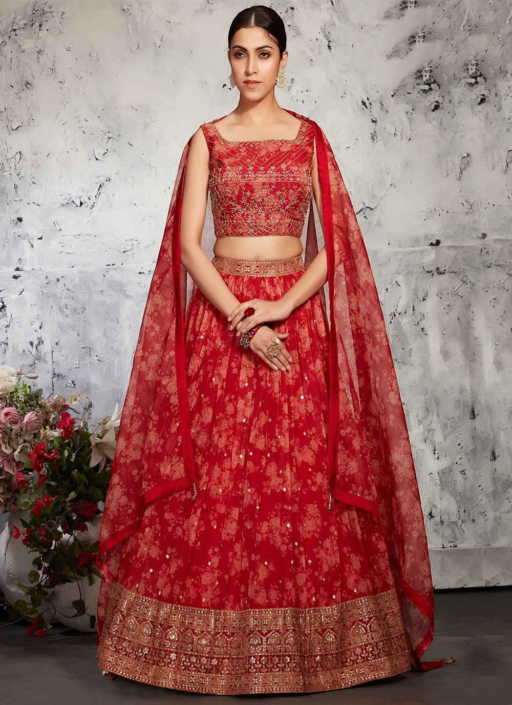 Red Fancy Mehndi Readymade Lehenga Choli