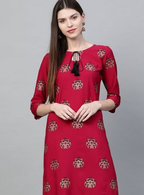 Red Faux Crepe Party Wear Kurti