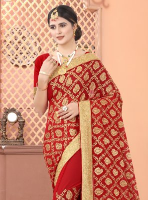 Red Faux Georgette Engagement Designer Traditional Saree