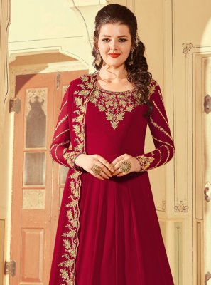 Red Faux Georgette Floor Length Anarkali Suit