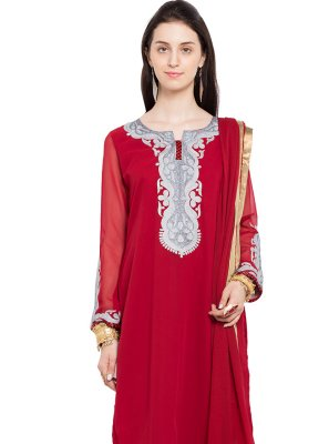 Red Faux Georgette Indo Western