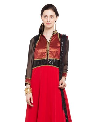 Red Faux Georgette Readymade Anarkali Salwar Suit