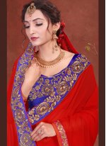 Red Faux Georgette Trendy Saree