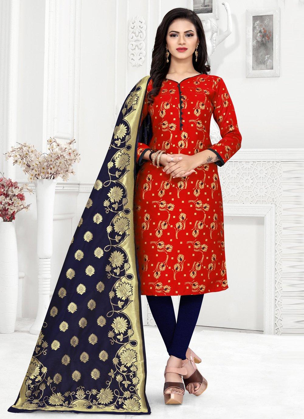 Red Festival Banarasi Silk Churidar Designer Suit