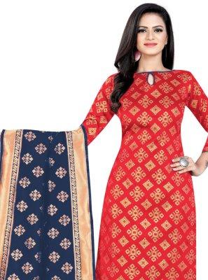 Red Festival Banarasi Silk Churidar Salwar Kameez
