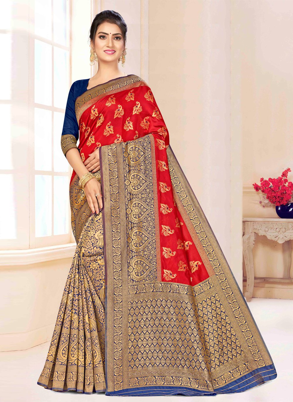 Red Festival Banarasi Silk Classic Saree