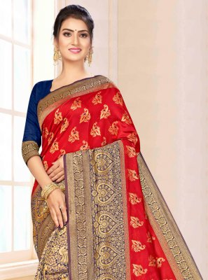 Red Festival Banarasi Silk Classic Saree