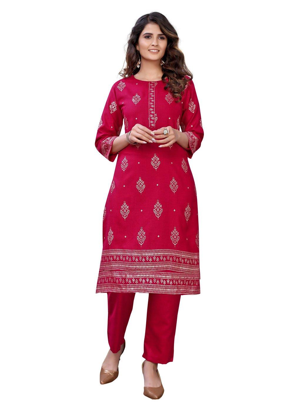 Red Festival Cotton Party Wear Kurti