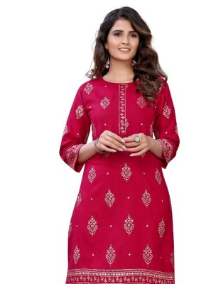 Red Festival Cotton Party Wear Kurti