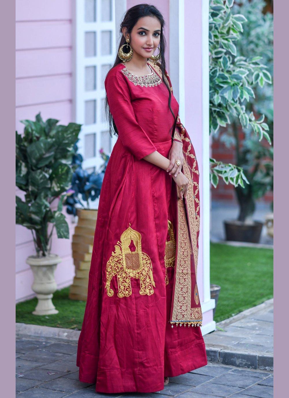 Red Festival Designer Floor Length Salwar Suit