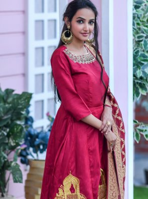 Red Festival Designer Floor Length Salwar Suit