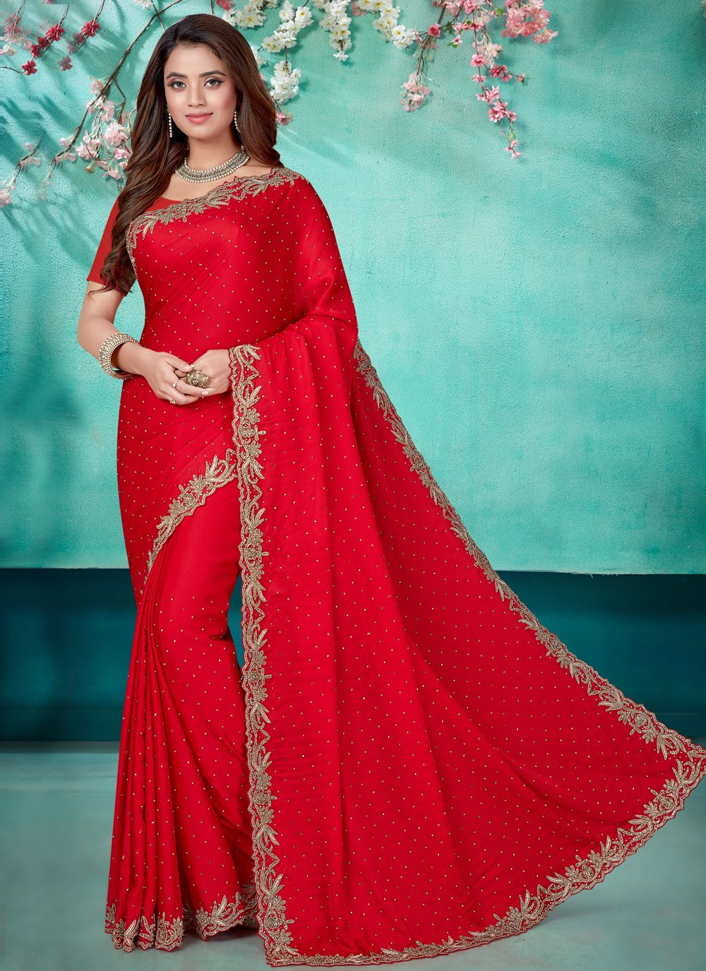Red Festival Designer Saree