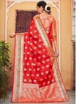 Red Festival Designer Saree