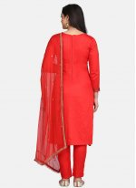 Red Festival Designer Straight Suit