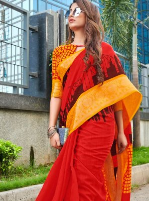 Red Festival Linen Printed Saree