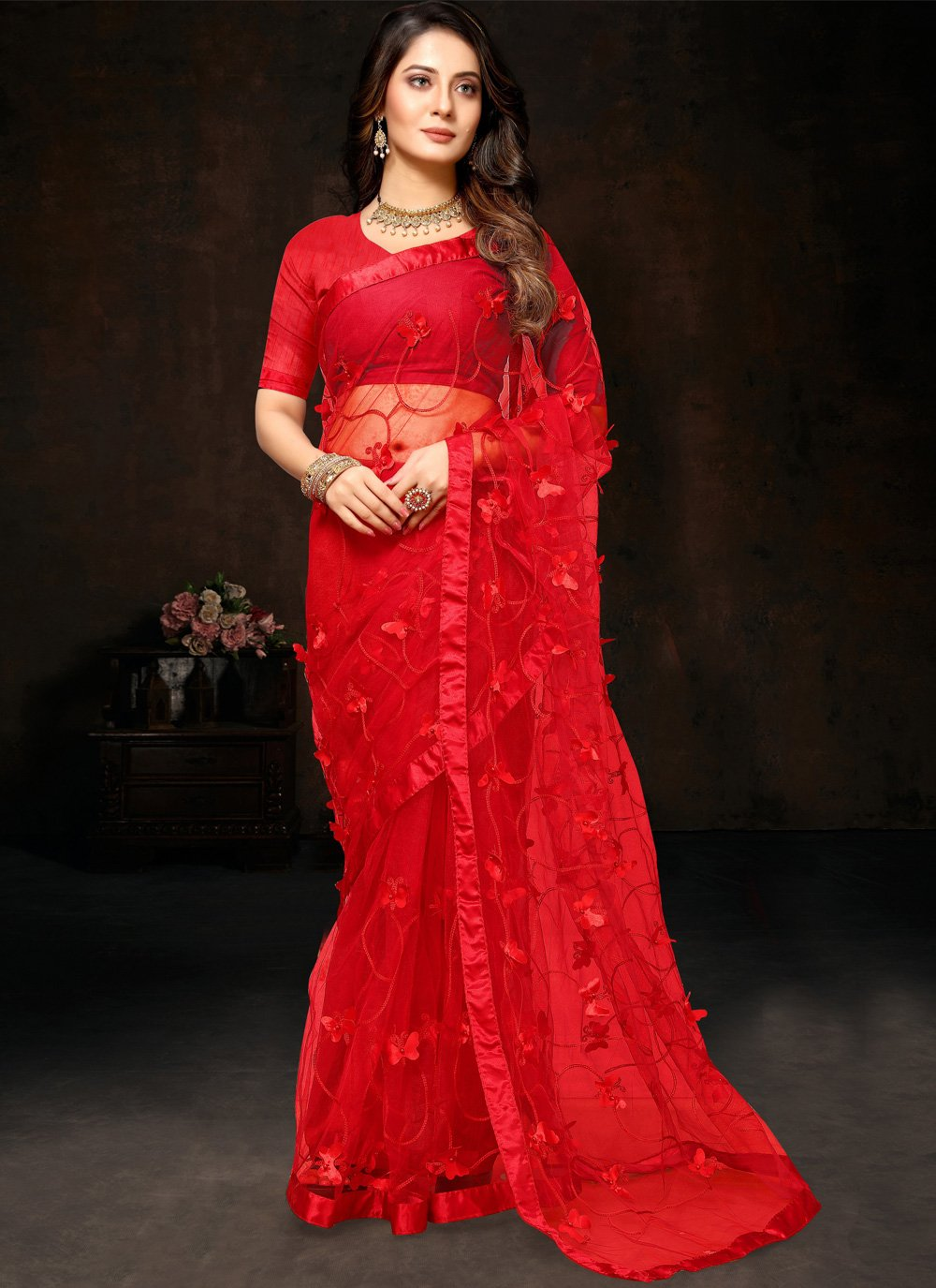 Red Festival Net Bollywood Saree