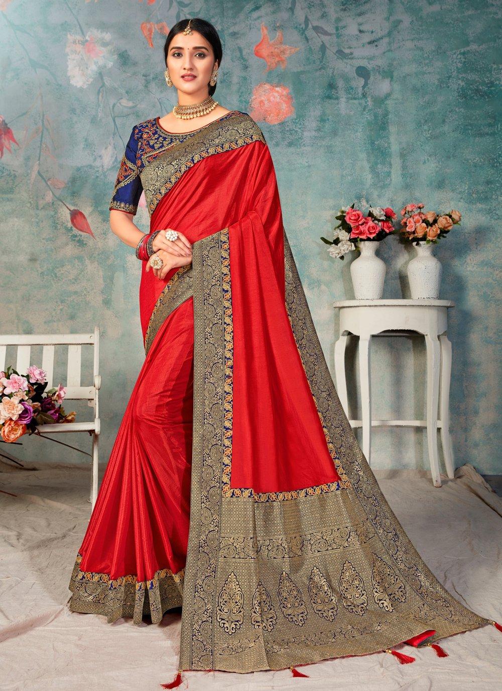 Red Festival Poly Silk Traditional Designer Saree