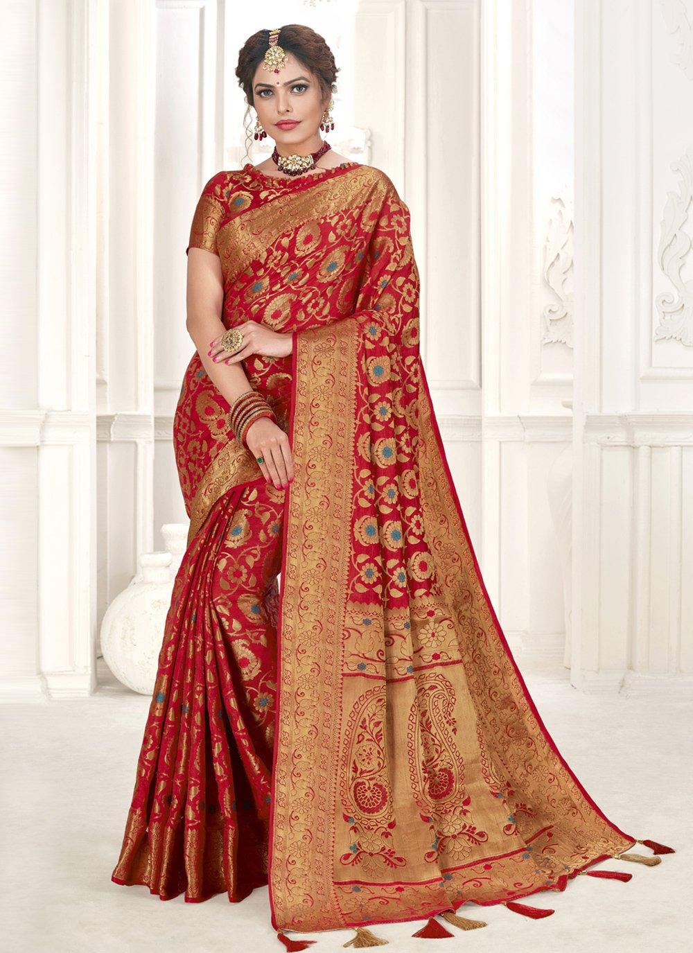Red Festival Silk Designer Traditional Saree