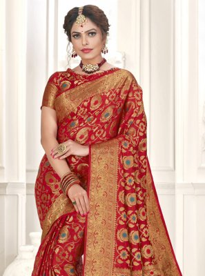 Red Festival Silk Designer Traditional Saree