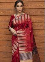 Red Festival Tussar Silk Traditional Designer Saree
