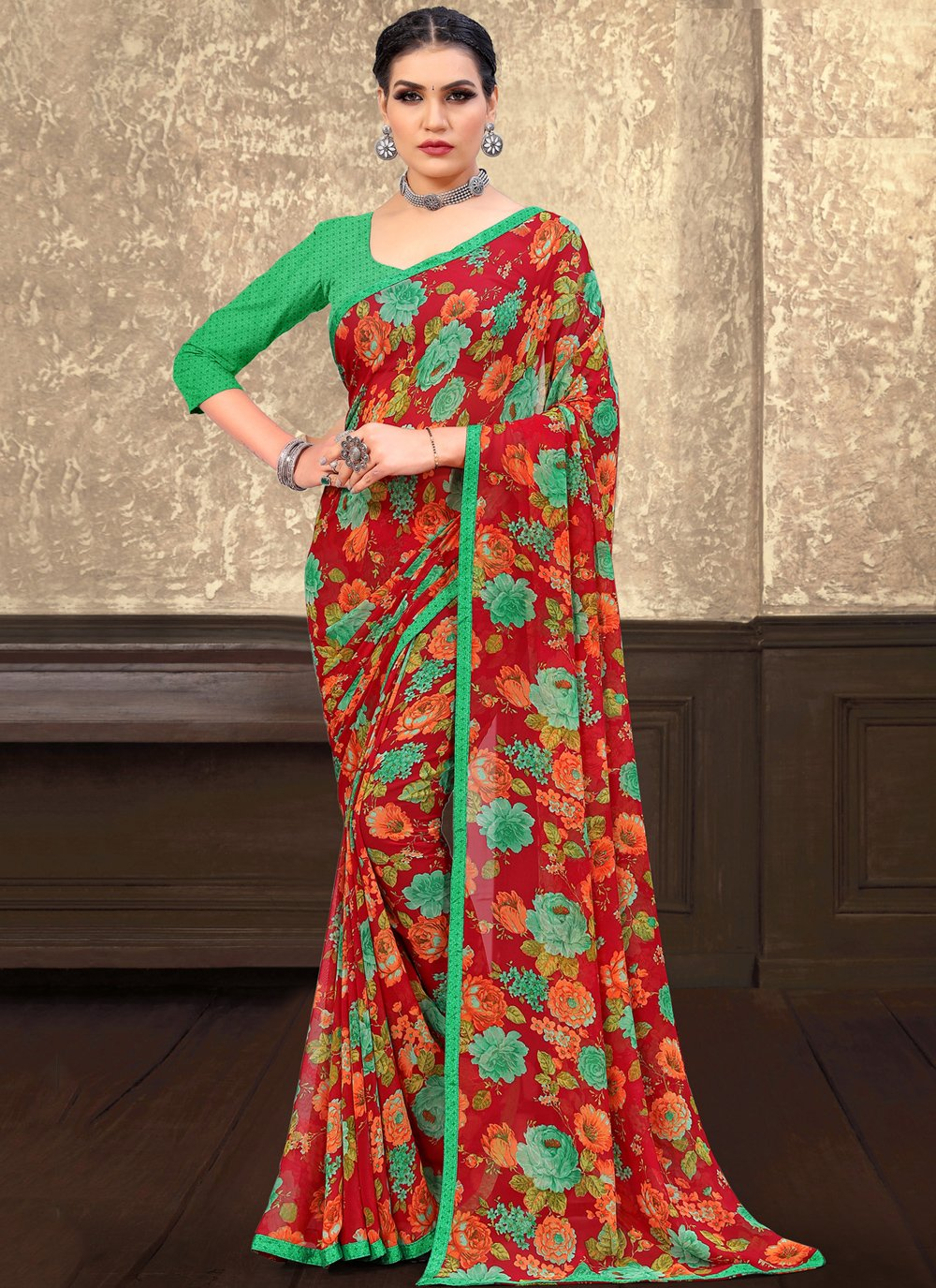 Red Floral Print Georgette Trendy Saree