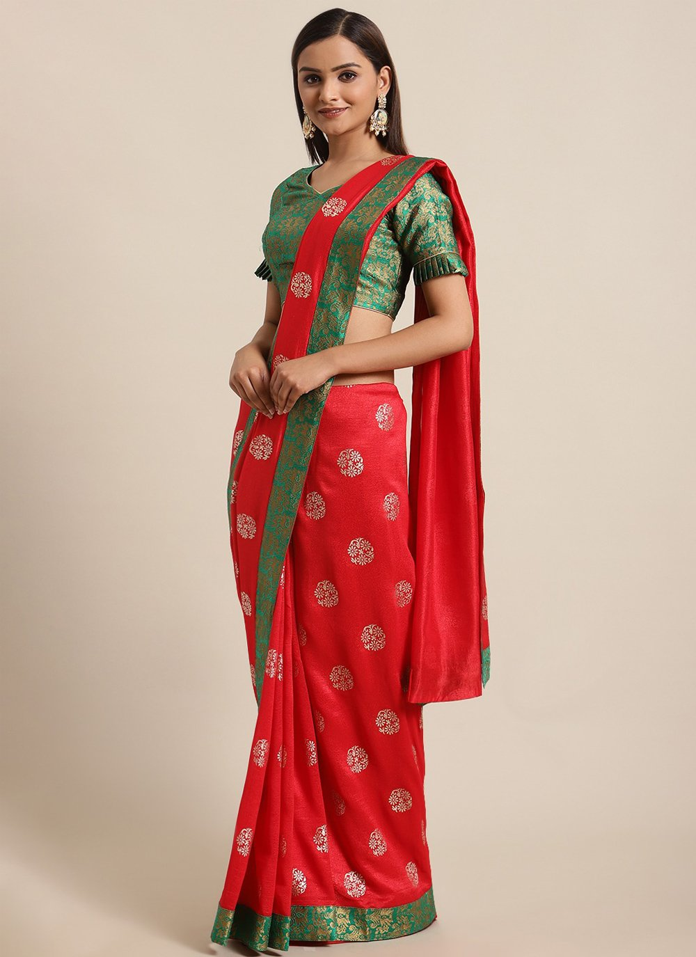 Red Foil Print Ceremonial Traditional Saree