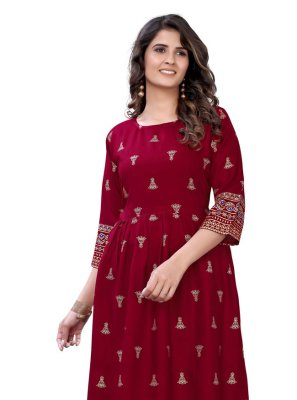 Red Foil Print Rayon Party Wear Kurti