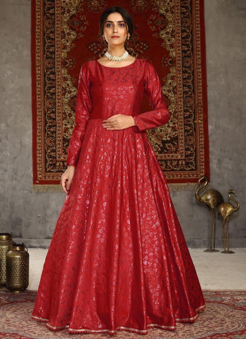 Red Foil Print Tafeta Silk Designer Gown